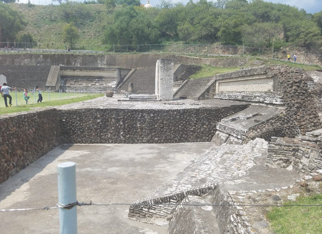 archaeological site at the base of the Cholula pyramid