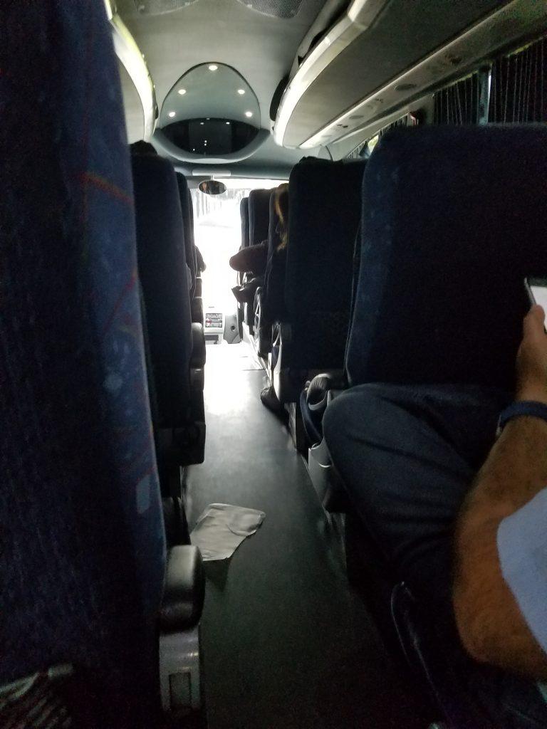 interior of bus to Puebla from Mexico City