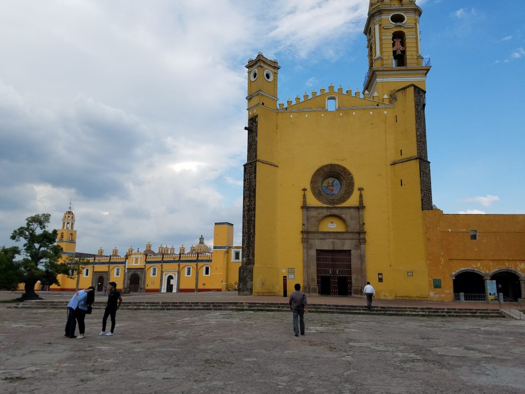 Cathedral in Cholula zocalo, or town center