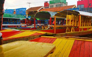Boats on the chinampa of Xochimilco