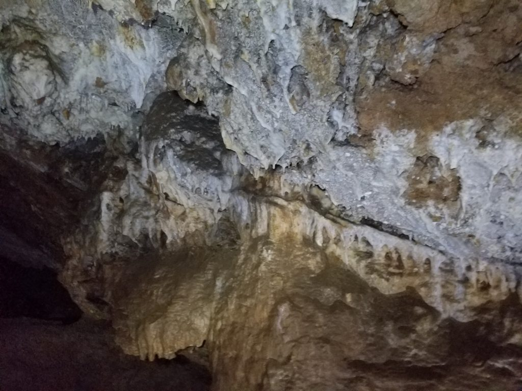 Mineral deposition on Peppersauce cave ceiling.
