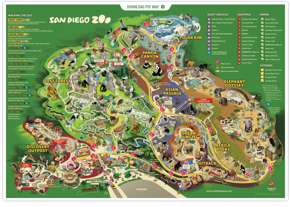 "New San Diego zoo map with ""Africa Rocks"""