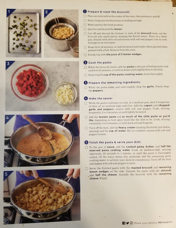 Blue Apron's roasted red pepper pasta