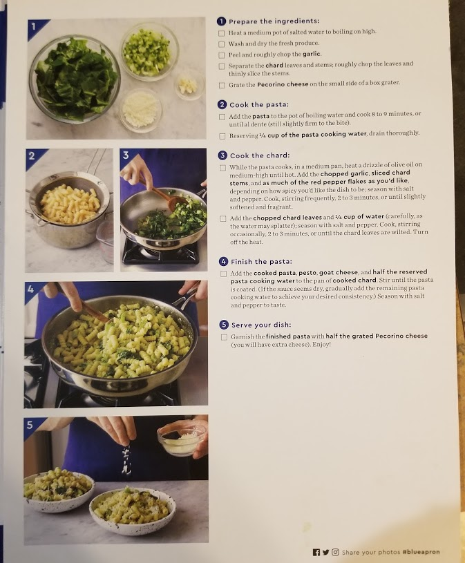Blue Apron's pesto and goat cheese fusilli