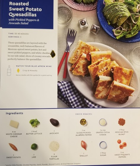 Blue Apron's roasted sweet potato quesadillas