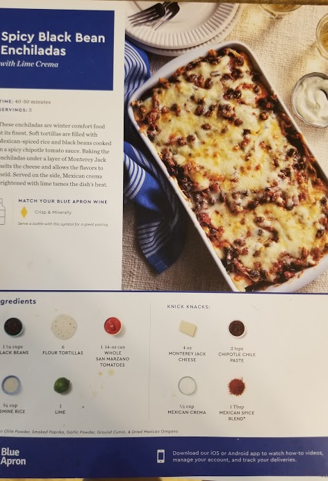 Blue Apron's Spicy Black Bean Enchilada recipe