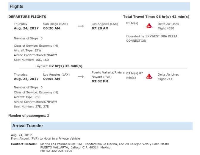 Puerto Vallarta flight itinerary